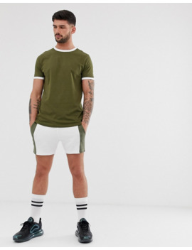 Asos Design Organic T Shirt In Khaki With White Contrast Ringer by Asos Design