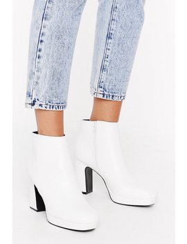 Hit The Block Button Faux Leather Ankle Boots by Nasty Gal