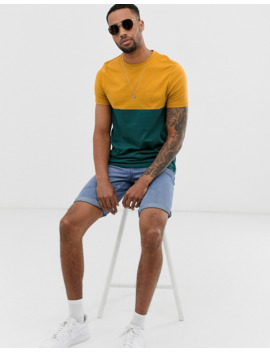 Asos Design Tall Organic T Shirt With Contrast Yoke In Green by Asos Design