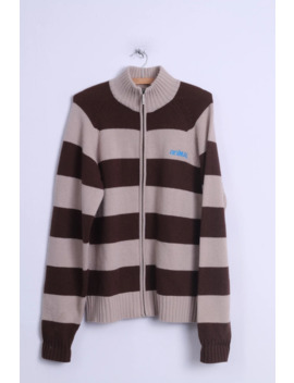 Animal Mens M Sweater Brown Striped Zipper Cardigan Wool Nylon Blend 9158 by Unbranded  ×