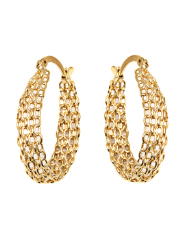 18k Gold Plated Gold Cable Linked Hoop Earrings by Sevil