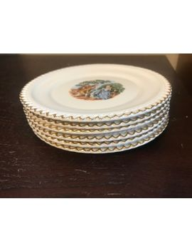 Set Of 6   The Harker Pottery Co Usa 22 Kt. Gold Trim Porcelain Plates by Harker Pottery Company