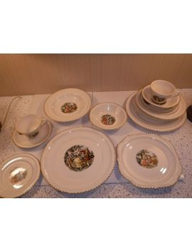 Vintage (4) 7 Piece Place Settings Harker Pottery Crimped Edge 22 Kt Gold China by Ebay Seller