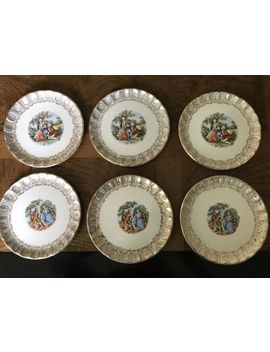 Vintage Hampton 22 Kt. Gold Small Plates Edwardian 6 Plates by Ebay Seller