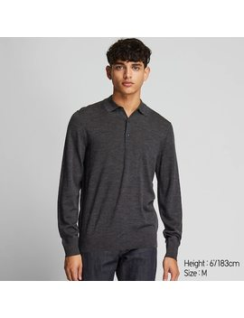 Men Extra Fine Merino Knit Long Sleeved Polo Shirt (21) by Uniqlo