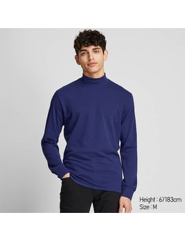 Men Soft Touch Mock Neck Long Sleeved T Shirt (5) by Uniqlo