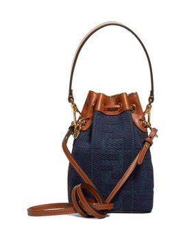 Mini Mon Tresor Logo Denim Bucket Bag by Fendi