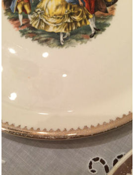 Vintage Cake Plate And 6 Serving Dishes   Romantic Scene by Ebay Seller