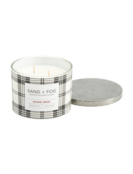 12oz Holiday Berry Plaid Candle by Tj Maxx