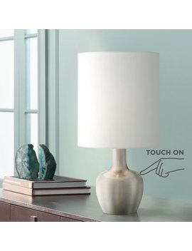 "360 Lighting Modern Desk Table Lamp 15 1/4"" High Brushed Steel White Drum Shade Touch On Off For Bedroom Bedside Office by 360 Lighting"