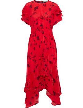 Esther Asymmetric Printed Satin Crepe Midi Dress by Preen Line
