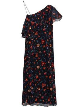 Perla One Shoulder Floral Print Silk Georgette Dress by Rachel Zoe