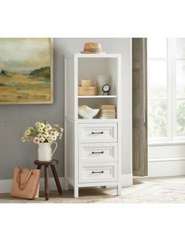 Sussex 3 Drawer Nightstand & Hutch, Bright White by Pottery Barn