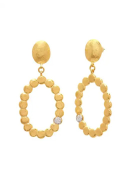 Gurhan Spell Pebble 22 K Oval Lentil Drop Earrings W/ Diamonds by Gurhan