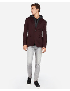 Slim Burgundy Knit Zip Out Hooded Jacket by Express