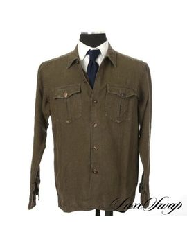 #1 Menswear Drakes Made England 100% Linen Green Washed Shirt Jacket Shacket L by Drake's
