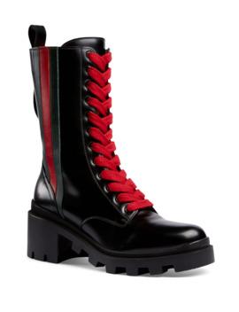 Trip Mid Calf Combat Boots by Gucci