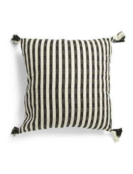 24x24 Oversized Textured Stripe Pillow With Tassels by Tj Maxx