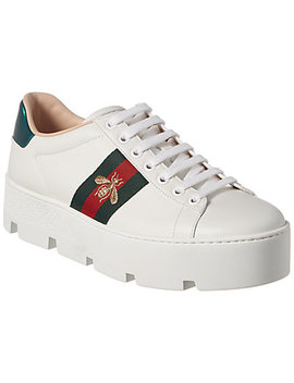 Gucci Ace Embroidered Leather Platform Sneaker by Gucci