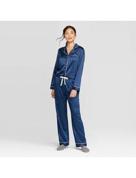 Women's Satin Notch Collar Pajama Set   Stars Above™ Navy by Stars Above