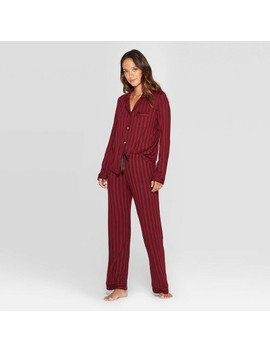 Women's Striped Beautifully Soft Notch Collar Pant Pajama Set   Stars Above™ Burgundy M by Stars Above