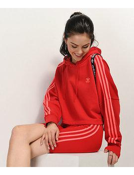 Adidas 3 Stripe Scarlet Crop Hoodie by Adidas