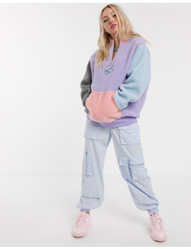 Lazy Oaf Pull Over Logo Fleece In Contrast Panels by Lazy Oaf