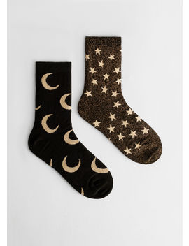 Mismatch Glitter Moon Star Socks by & Other Stories