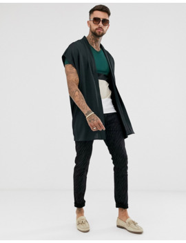 Asos Design Skinny T Shirt With Deep V Neck And Color Block In Green by Asos Design