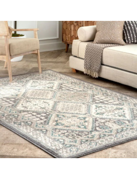 Nu Loom Beige Transitional Charming Georgia Floral Geo Stripped Border Area Rug   9' X 12'   Charcoal by Nuloom