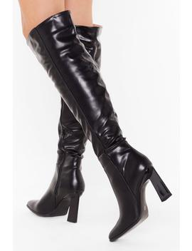 Pu Knee High Flare Heel Boots by Nasty Gal