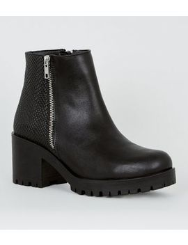 Black Faux Snake Panel Chunky Boots by New Look