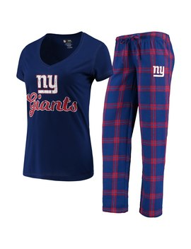 New York Giants Concepts Sport Women's Troupe V Neck T Shirt & Pants Sleep Set   Royal/Red by Concepts Sport