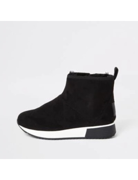 Black Faux Fur Lined Runner Trainer Boots by River Island