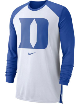 Nike Men's Duke Blue Devils White/Duke Blue Long Sleeve Shooting Shirt by Nike