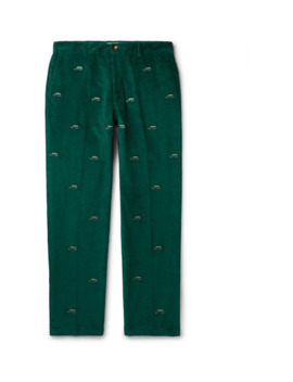 Tapered Embroidered Cotton Corduroy Trousers by Aimé Leon Dore