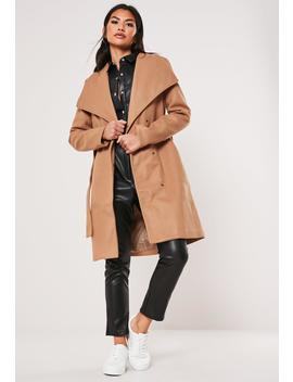 Camel Belted Wrap Coat by Missguided
