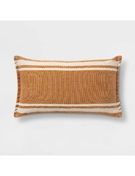 Wool/Cotton Woven Stripe Oversize Lumbar Throw Pillow With Whipstitch Trim   Threshold™ by Shop This Collection