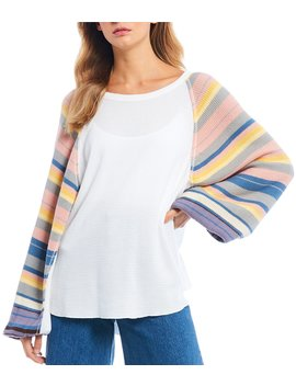 Rainbow Dreams Cotton Blend Stripe Wide Long Balloon Sleeve Top by Free People