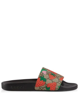 Gg Gucci Strawberry Slide Sandal by Gucci