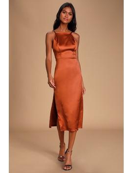 Kaisley Rust Orange Satin Backless Midi Dress by Lulus