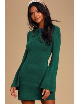 Chilly Days Forest Green Knit Bell Sleeve Sweater Dress by Lulus