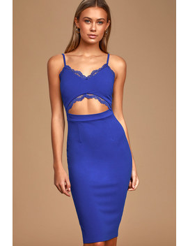 Pure Perfection Cobalt Blue Lace Cutout Bodycon Dress by Lulu's