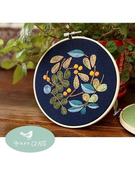 Beginner Embroidery Kit   Modern Floral And Plant Hand Embroidery Full Kit   Diy Burnt Orange And Blue Flower Needlepoint Hoop Wall Art Kit by Etsy
