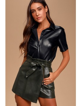 Bold Intentions Black Vegan Leather Short Sleeve Button Up Top by Lulus