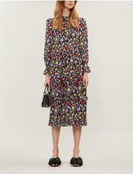 Florence Floral Pattern Silk Crepe Midi Dress by Olivia Rubin