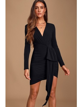 Marlay Black Ruched Long Sleeve Bodycon Dress by Lulus