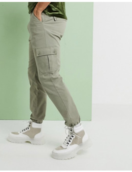 Asos Design Tapered Cargo Pants With Toggles In Light Green by Asos Design