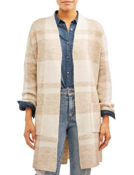 Time And Tru Women's Double Knit Plaid Cardigan by Time And Tru
