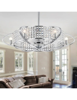 Sonome Chrome & Crystal 33 Inch Fandelier Lighted Ceiling Fan (Incl Remote Control)   Ø 33.5 In X H 31.5 In by Warehouse Of Tiffany